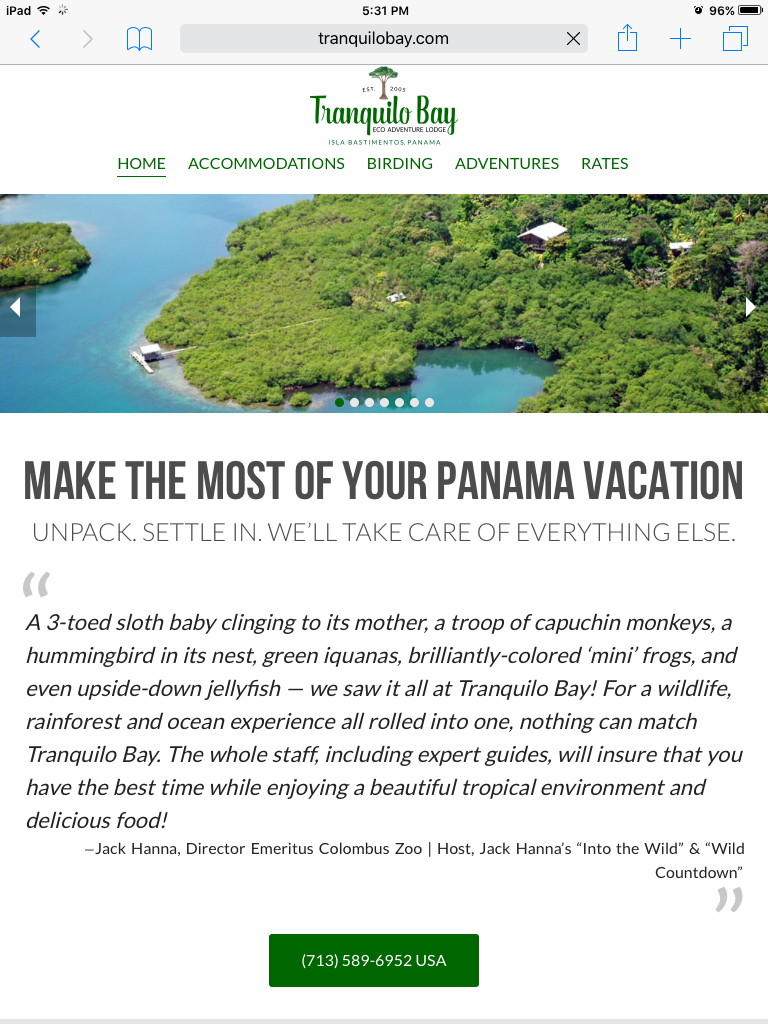 Panama Eco Lodge Website